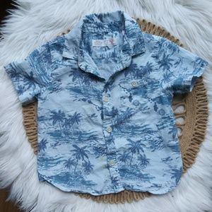 ZARA Baby Boy Hawaiian Button down Sz 12/18 Months